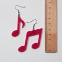 Hangjegy fülbevaló, pink, Ékszer, óra, Fülbevaló, Ékszerkészítés, A fülbevaló plexi alapanyaga és a hozzá használt Ródium bevonatos bizsualkatrészek is hipoallergéne..., Meska
