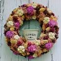 Romantikus terméskoszorú-Ajtódísz virágtartóval, Dekoráció, Otthon, lakberendezés, Dísz, Kaspó, virágtartó, váza, korsó, cserép, Virágkötés, Ha már unod a natúr terméskoszorúkat ajánlom neked ezt a romantikus hangulatú ajtódíszt, melyet egy..., Meska