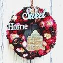 Vintage ajtódísz-Koszorú bordó-rózsaszín összeállításban, Otthon, lakberendezés, Dekoráció, Dísz, Virágkötés, Picit vintage, picit romantikus, picit kopott, picit új, picit régies, picit csipkés, picit bordó, ..., Meska