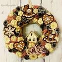 Vintage hangulatú adventi kopogtató-Ajtódísz házikóval és mézeskalács figurákkal, Dekoráció, Karácsonyi, adventi apróságok, Otthon, lakberendezés, Ünnepi dekoráció, Karácsonyi dekoráció, Virágkötés, Mesés hangulatú kopogtató a vintage szerelmeseinek karácsonykor is:) Ajándéknak is tökéletes válasz..., Meska