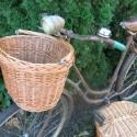 Biciklis kosár nagy, Baba-mama-gyerek, Otthon, lakberendezés, Tárolóeszköz, Kosár, Fonás (csuhé, gyékény, stb.), Klasszikus kosár melyet, a speciálisan kialakított füleknek köszönhetően felakaszthatsz a kerékpár ..., Meska