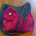 Egyedi táska virággal díszítve, Táska, Ruha, divat, cipő, Válltáska, oldaltáska, Varrás, Sötétszürke,pirossal kombinálva!Szerintem egy jó párosítás!:)                           A még külön..., Meska