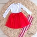 Piros tüllszoknyás szett, Ruha, divat, cipő, Gyerekruha, Baba (0-1év), Kisgyerek (1-4 év), , Meska