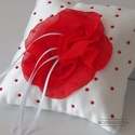 Vörös rózsás gyűrűpárna, Esküvő, Gyűrűpárna, , Meska