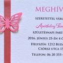Meghívó keresztelőre, babazsúrra születésnapi partira borítékkal szalagos kék rózsaszín piros, Naptár, képeslap, album, Baba-mama-gyerek, Képeslap, levélpapír, Papírművészet, Személyre szabott meghívó  Hívd meg vendégeidet ezzel a rendkívül igényes, ugyanakkor bájos meghívó..., Meska