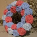 """Mini rózsakoszorú - """"Színek játéka"""", Dekoráció, Otthon, lakberendezés, Mindenmás, Varrás, Mindenmás, 10 cm-es mini koszorúalapra készítettem rózsakoszorúmat, kilincsek, szekrény gombok díszének. Vidéki..., Meska"""
