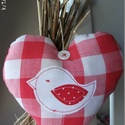 Madárka (piros kockás) - vidéki romantika szív (kridacountry) - Meska.hu