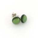 Olívazöld üveg fülbevaló, Ékszer, óra, Könnyű kis üveg fülbevaló, olívazöld színes üvegekből olvasztottam kemencében. Mérete kb. 8 mm. A fü..., Meska