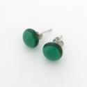 Kelet zöldje üveg fülbevaló, Ékszer, óra, Fülbevaló, Könnyű üveg fülbevaló, színes üvegekből olvasztottam kemencében. Hideg jellegű, telt zöld árnyalat. ..., Meska