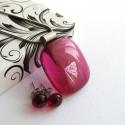 Pink üvegékszer szett, Ékszer, óra, Medál, Nyaklánc, Ékszerszett, Rózsaszín üvegekből olvasztottam ezt az egyedi ékszerszettet. A kis medál mérete kb. 2,5x2,8 cm, nem..., Meska