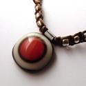 Piros-marcipán üvegékszer nyaklánc, Ékszer, óra, Medál, Nyaklánc, Színes művészüvegekből olvasztottam a medált, mérete 2,5 cm. A zsinór antiallergén szerelékekkel és ..., Meska