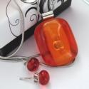 Narancs csíkok üvegékszer szett, Ékszer, óra, Medál, Nyaklánc, Ékszerszett, Ékszerkészítés, Üvegművészet, Szép, élénk narancs színes művészüvegekből olvasztottam ezt az egyedi ékszerszettet. A medál mérete..., Meska