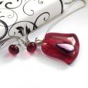 Pink tulipán üvegékszer szett, Ékszer, óra, Medál, Nyaklánc, Ékszerszett, Ékszerkészítés, Üvegművészet, Egyedi üvegékszer szett, sötétpink színű üvegből olvasztottam, pici rózsaszín dichroic üveg díszíti..., Meska