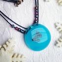 Kék pillangó - üvegékszer nyaklánc, Ékszer, óra, Nyaklánc, Kék bullseye  ékszerüvegből  készítettem a medált, melyet sötétkék pillangóval tettem dí..., Meska