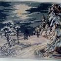 Téli tájkép, Képzőművészet , Dekoráció, Textil, Gobelin, , Meska