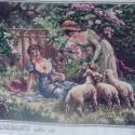Fiatal lány bárányokkal, Képzőművészet , Dekoráció, Textil, Gobelin, , Meska