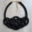 Fekete csomós nyaklánc/kötél nyaklánc/csomózott, Ékszer, óra, Mindenmás, Ruha, divat, cipő, Nyaklánc, , Meska