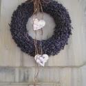 Levendula koszorú 3db  szívvel., Dekoráció, Otthon, lakberendezés, Ünnepi dekoráció, Virágkötés, Új díszítéssel!! Írott mintás kicsi fa szívvel és kender zsinórral.  Levendula csokor is vásárolható..., Meska
