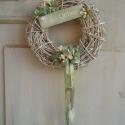 Édes otthon., Dekoráció, Otthon, lakberendezés, Ünnepi dekoráció, Virágkötés, Egy kicsi vintage tavasz.   Készítettem egy kisebb változatot is a festett koszorúból.   25-cm-es v..., Meska
