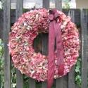 Óriás bordó hortenziás ajtódísz , Dekoráció, Otthon, lakberendezés, Karácsonyi, adventi apróságok, Virágkötés, A koszorút 40-cm-es szalma alapra kötöttem hortenzia virágaival.Ezt a koszorút bordó szalaggal dísz..., Meska