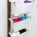 Fedéllel - Fali tároló   dió színű fapáccal   3 rekeszes   Fehér lenvászonból, Bútor, Otthon, lakberendezés, Tárolóeszköz, Famegmunkálás, Varrás, Fali tároló | dió színű fapáccal | 3 rekeszes | Fehér lenvászonból  Nagyon praktikus, hangulatos fa..., Meska