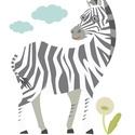Falimatrica - Zörgető Zebra, Baba-mama-gyerek, Dekoráció, Gyerekszoba, Falmatrica, Fotó, grafika, rajz, illusztráció, Anyag: speciális öntapadós vinyl falfólia, kifejezetten beltéri dekorációra kifejlesztett anyagból ..., Meska