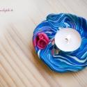 Gyurma mécsestartó tálka kék- bordó, Dekoráció, Otthon, lakberendezés, Gyertya, mécses, gyertyatartó, Gyurma, Fimo gyurmából készítettem ezt a mécsestartó tálkát, egyedi darab.   Kb. 8.5 cm * 9 cm, Meska