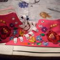 Kalocsai mintás rózsa színű vászoncipő  ( magasszárú), Magyar motívumokkal, Ruha, divat, cipő, Cipő, papucs, Hímzés, Kézzel hímzett kalocsai mintás vászon magasszárú  cipő . Színe: Rózsaszín. Mérete:38-as Belső talph..., Meska