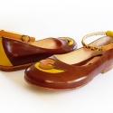 Madárkás bőr balerina cipő, 37-es méret, Ruha, divat, cipő, Cipő, papucs, Bőrművesség, Varrás,  100% valódi bőrből, kézzel készült cipellő, őszies színekben, kismadárral, fonott bokapánttal.  Báj..., Meska