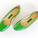 Zöld bőr balerina cipő, 36-os méret, Ruha, divat, cipő, Cipő, papucs, Bőrművesség, Varrás, 100% valódi bőrből, kézzel készült cipellő zöld színben.   Bőr sarkát és talpát erős gumi védi a ko..., Meska