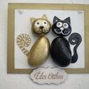 """Szerelmes macskák - """"Édes otthon"""" ajtótábla, kopogtató pároknak..., Dekoráció, Otthon, lakberendezés, Falikép, Utcatábla, névtábla, Festett és lakkozott fa lapra akrillal és lakkfilccel festem meg ezeket az édes kis  arany és fekete..., Meska"""