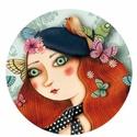 Butterfly girl - üveglencsés nyaklánc, Ékszer, óra, Nyaklánc,  A nyakláncot, nagy méretű, elegáns, fodros szélű, antikolt bronz, üveglencsés medál díszíti kedvenc..., Meska