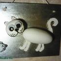 Szemtől szemben - macska, egér kavics kép, Dekoráció, Otthon, lakberendezés, Dísz, Falikép, Egyedi, kézzel festett kavicsokból készült macska / cica és egér, festett, lakkozott falapra rözítve..., Meska