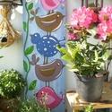 Colorful birds - festett, színes madarak, Dekoráció, Otthon, lakberendezés, Kép, Falikép,  Egy régi, rusztikus fa deszkára csiszolás és alapozás után akril- és akvarellfesték segítségével fe..., Meska
