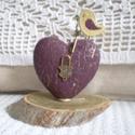 Key to my heart 3 - Kulcs a szívemhez!, Dekoráció, Dísz, Fa talpazaton, repesztőlakkal kezelt, bordó-arany színű, hungarocell alapú szív, rajta antikolt bron..., Meska