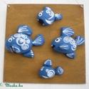 Fish family - egyedi festett kavics kép, Dekoráció, Otthon, lakberendezés, Falikép,  Akvarellel alapozott és lakkozott fa lapra kézzel festett kavicsokból készítettem ezt a kis hal csa..., Meska