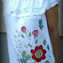Romantic, Ruha, divat, cipő, Női ruha, Felsőrész, póló, Varrás, Festett tárgyak, Ezt a feltűnő nyári darabot magam terveztem és varrtam, majd kézzel festett motívummal díszítettem...., Meska