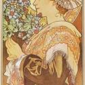 Bogáncs a parti fövenyről, Otthon, lakberendezés, Üvegművészet, Alkotó: Alphonse Mucha Szecessziós stílusú üvegkép. A festékréteget beleégetem az üvegbe, ez tartós..., Meska