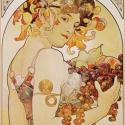 Alphone Mucha - Gyümölcs, Otthon, lakberendezés, Üvegművészet, Alkotó: Alphonse Mucha Szecessziós stílusú üvegkép. A festékréteget beleégetem az üvegbe, ez tartós..., Meska