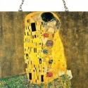 A csók, Otthon, lakberendezés, Üvegművészet, Alkotó: Gustav Klimt Szecessziós stílusú üvegkép. A festékréteget beleégetem az üvegbe, ez tartós, ..., Meska