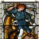 Dávid és Góliát, Otthon, lakberendezés, Üvegművészet, Antik stílusú üvegkép. A festékréteget beleégetem az üvegbe, ez tartós, időtálló nyomatot eredménye..., Meska