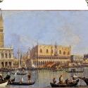Canaletto - View of the Ducal Palace in Venice, Otthon, lakberendezés, Üvegművészet, Antik stílusú üvegkép. A festékréteget beleégetem az üvegbe, ez tartós, időtálló nyomatot eredménye..., Meska