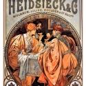 Alphonse Mucha - Heidsieck_and_Co, Otthon, lakberendezés, Üvegművészet, Alkotó: Alphonse Mucha Szecessziós stílusú üvegkép. A festékréteget beleégetem az üvegbe, ez tartós..., Meska