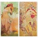 Alphonse Mucha-Négy évszak (garnitúra) 4mm-es fehér üvegen, Otthon, lakberendezés, Üvegművészet, Alkotó: Alphonse Mucha Szecessziós stílusú üvegkép. A festékréteget beleégetem az üvegbe, ez tartós..., Meska