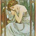 Napszakok, Otthon, lakberendezés, Üvegművészet, Alkotó: Alphonse Mucha Szecessziós stílusú üvegkép. A festékréteget beleégetem az üvegbe, ez tartós,..., Meska