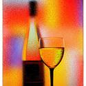 Abstract Wine, Otthon, lakberendezés, Üvegművészet, Modern stílusú üvegkép. A festékréteget beleégetem az üvegbe, ez tartós, időtálló nyomatot eredmény..., Meska