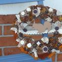 Őszi csipkés mókusos ajtó kopogtató , Dekoráció, Dísz, Virágkötés, Őszi csipkés mókusos ajtó kopogtató. A koszorú átmérője kb. 25 cm. , Meska