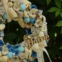 Elegáns, ünnepi kopogtató, Otthon, lakberendezés, Dekoráció, Virágkötés, 20as szalma alapon száraz termésekkel, művirágokkal, HOME felirattal, gyöngyökkel, csipke szalaggal..., Meska