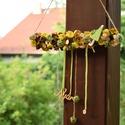 Zöld-sárga ajtódísz, Dekoráció, Otthon, lakberendezés, Virágkötés, Különleges zöld-sárga színű ajtódísz művirágokkal, száraz termésekkel, fa díszekkel, spárgával, sza..., Meska