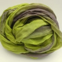 zöld lilával selyemsál, Ruha, divat, cipő, Női ruha, Selyemfestés, Az üde zöldhöz egy kis hűvös lila társul; különleges, finom, kellemes színkeverék..Tisztaselyem, kb..., Meska